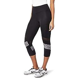 AURIQUE Capri Stripe Leggings deporte, Negro (Black/Grey Marl), 38 (Talla del Fabricante: Small)