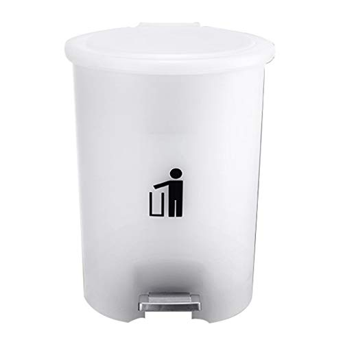 LWX Pedal-artige Mülleimer, Küche Küche Wohnzimmer Mit Matt Doppelschicht Kunststoffabdeckung Kunststoff Haushalt Mülleimer Hohe Kapazität (Farbe : Weiß, größe : 5L)
