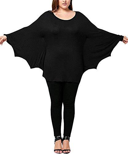 Für Plus Erwachsene Kostüm Batgirl - Ybenlover Damen Cosplay Tier T-Shirt Kostüm Fledermaus Ärmel Große Größen Halloween