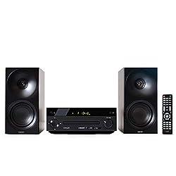 HAISER HSR 118 | 40 Watt RMS mit CD Player Bluetooth USB Boxen FM Radio | Stereoanlage Kompaktanlage Musikanlage HiFi Anlagen Mini Anlage Microanlage Mini Stereoanlage Soundanlage