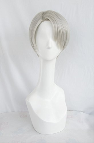 LanTing Cosplay Perücke YURI!!! on ICE Victor Nikiforov Silvery White Perücke Corta Cosplay Party Fashion Anime Human Kostüm Full Wigs Synthetic Haar Heat Resistant Fiber Haar