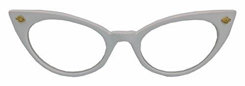 50er Jahre Katzenaugen Brille Cat Eye Modell Klarglas Mode-Brille oder Sonnenbrille C95 (Weiss)
