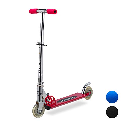 Relaxdays Scooter für Kinder, klappbarer Tretroller, mit Bremse, Alu, höhenverstellbar bis 77 cm, 2 Rollen 95 mm, rot -