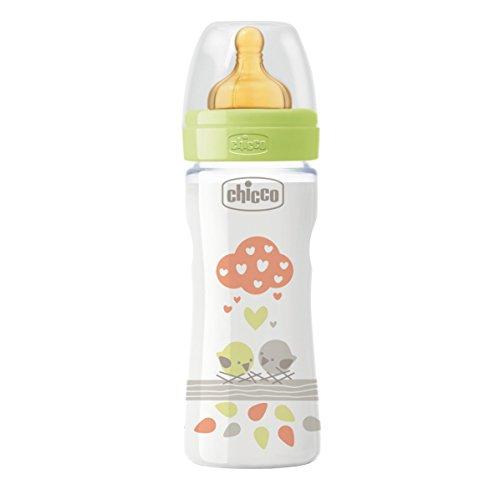 Chicco 00020622300000 Benessere Plastica Neutro Biberon, Caucciù, Flusso Medio, 250 ml, Verde