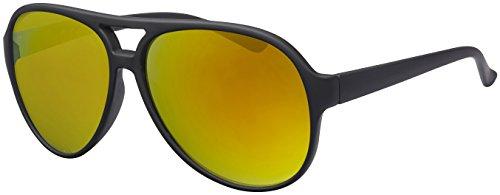 La Optica UV 400 Herren Retro Sonnenbrille Pilotenbrille Fliegerbrille - Einzelpack Gummiert Schwarz (Gläser: Gelb verspiegelt)
