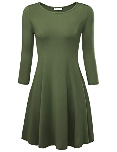 BaiShengGT Damen Skaterkleid Rundhals 3/4-Arm Fattern Stretch Basic Kleider Gruen M Flare Kleid
