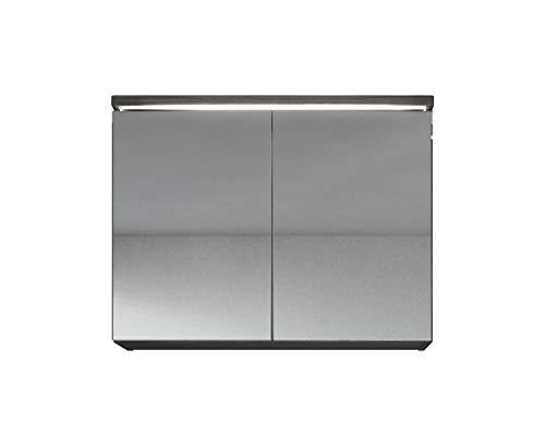 Breite A/v-schrank (Spiegelschrank Paso 80 cm - Schrank Spiegelschrank Spiegel Badezimmer Weiß Schwarz Eiche hell Bodega Lefkas (Bodega))