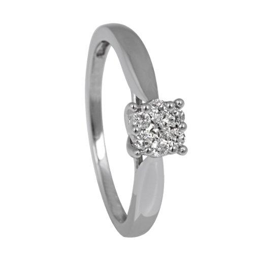 Diamond Line Damen - Ring 375er Gold 7 Diamanten ca. 0,25 ct., weißgold Preisvergleich