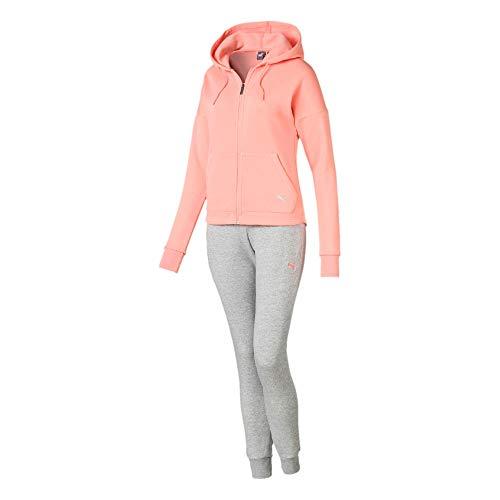 Puma Damen Clean Sweat Suit CL Trainingsanzug Peach Bud L