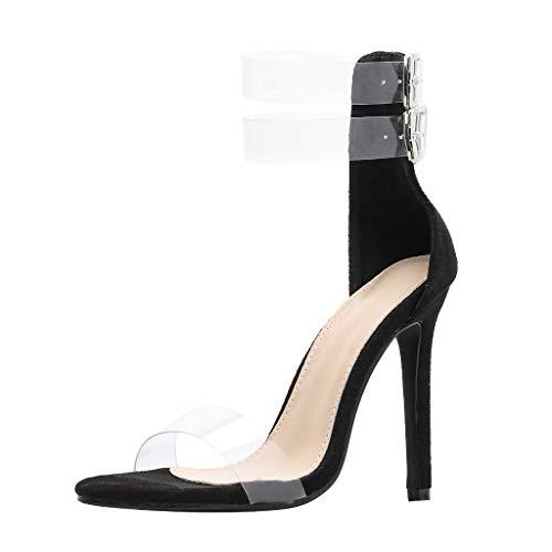 Sandalias tacón Alto Mujer 2019 Verano Moda Transparentes