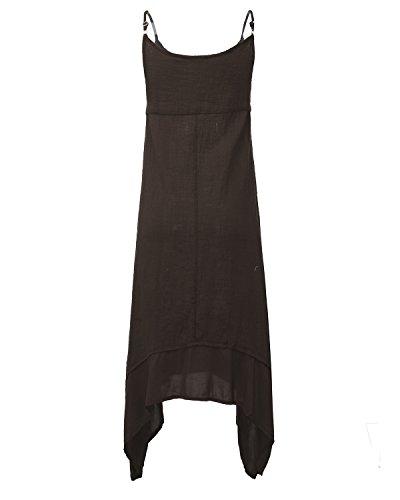 Auxo Vintage Irrégulière Longue Tunique Cocktaill Femme Maxi Robe Lâche Casual de Soiree Bal Dress Linge Marron