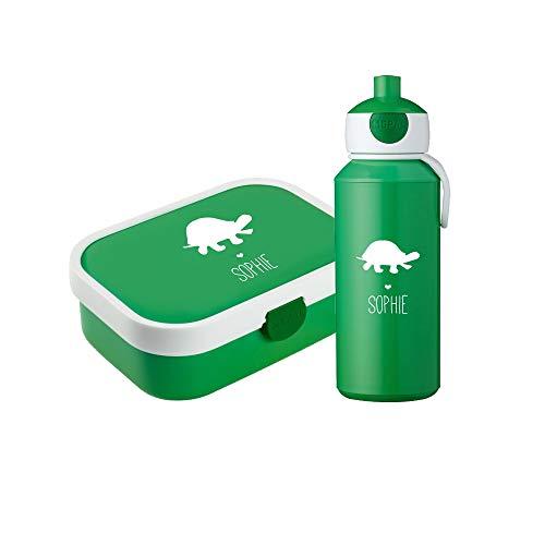 rotdose & Trinkflasche Schildkröte Silhouette mit Namen✶ Mepal Campus + Bento Box & Gabel ✶Kind ✶Sport ✶6 Farben (Grün) ()