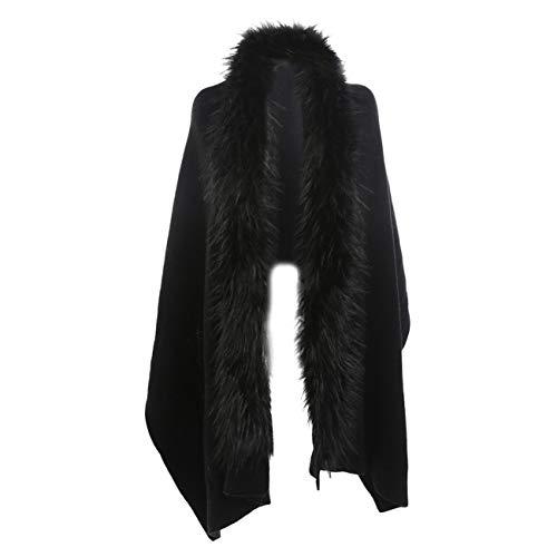 Scialli stole donna invernali elegante cerimonia,scialle di scialle di cachemire in similpelle a collo alto di colore solido collo in pelliccia tinta unita casual moda caldi (taglia unica, nero)