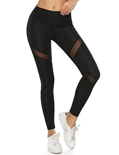 Legging de Sport Pantalon de Sport Femme Yoga Jogging Fitness Running Elastiques Stretch avec Poches Portable Fitness Gym Taille Haute Gaine Large Collant Confortable, Noir Résille, M