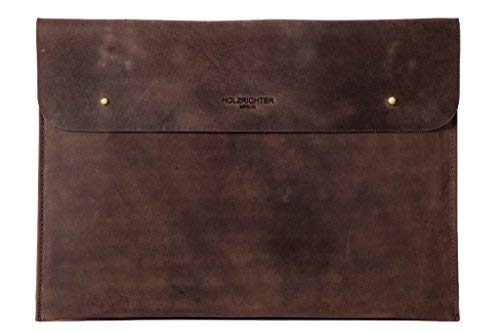 "HOLZRICHTER Berlin Laptop 13\"" Sleeve - Premium Hülle aus Leder - Ledertasche für Notebook Apple MacBook 13\"" Air Retina - dunkel-braun"