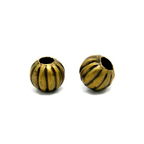 Packet of 20 x Antique Bronze Plated Iron 6mm Round Spacer Beads - (HA15225) - Charming Beads