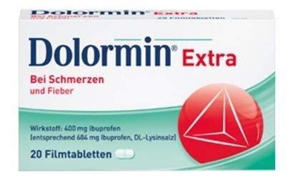 Preisvergleich Produktbild 3x20 Filmtabletten Dolormin extra. Bei leichten bis mäßig starken Schmerzen und bei Fieber. Enthält den Wirkstoff Ibuprofen und den Wirkbeschleuniger Lysin.
