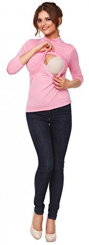 Happy Mama. Femme Top de maternité d'allaitement double couches col roulé. 987p Poudre Rose