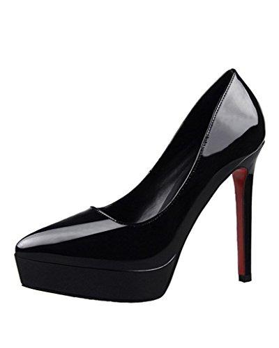 Minetom donna scarpe elegante scarpe con plateau tacco a spillo scivolare su vernice scarpe col tacco alto calzature nero eu 34