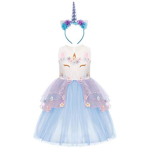 Einhorn Kostüm Kinder Blau - OBEEII Einhorn Kostüm Sommer Kleider Mädchen