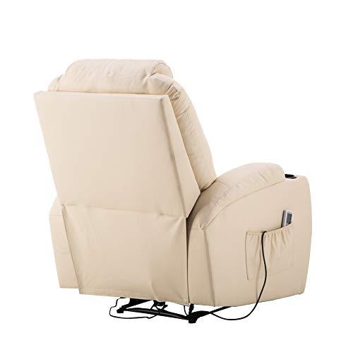Mcombo Elektrisch Massagesessel Relaxsessel Fernsehsessel Liegefunktion Vibration Heizung Cremewei