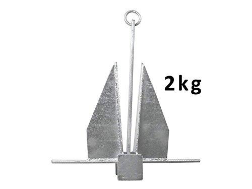 John Paddle Anker Danforth Plattenanker 2,0 kg aus verzinkter Stahl mit Befestigungsring