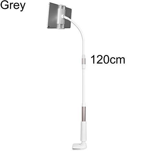 Sguan-wu Tablet Ständer Verstellbare, Ständer Tablet Halterung Flexibler Hals Tabelle Clip-on Tablet-Handyhalterung, für iPad Gray 120 cm