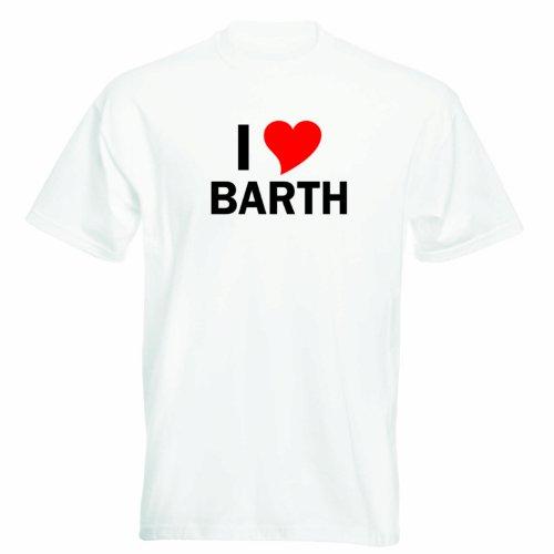 T-Shirt mit Städtenamen - i Love Barth - Herren - unisex Weiß