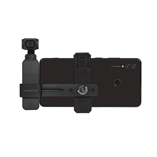 Aluminium 1/4'' Handyhalter-Set Mobiler Verstellbare Halterung Extension Mount für DJI Osmo Pocket, mit kaltem Schuhhalterungs-Mikrofon Zubehör (Schwarz) -