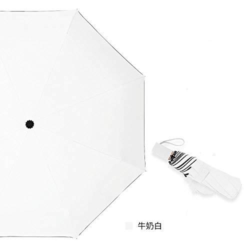 AJIAO Paraguas Paraguas Tríptico Lona de Color Liso Blanco Dorado Mango Lateral Protector Solar UV Umbrella, Paraguas Blanco