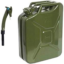 Jerrican vert avec bec verseur 20 litres pour carburant, essence, diesel, etc.