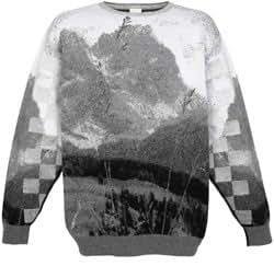 OXBOW - PULL JACQUARD MONTAGNE - Black and White Mountain Skolpen - BLESS - M