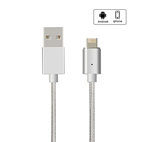 Magnetic USB Charging Cable, Hizek Micro USB + Lightning 2 en 1 Connector 1M Nylon Charging Data Câble pour iPhone 7,iPhone 7Plus, iPad, Samsung, Sony, Xiaomi, LG, HTC--Argnt (Lightning+Micro USB)