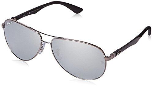 Ray Ban Unisex Sonnenbrille RB8313, Gr. X-Large (Herstellergröße: 61), Mehrfarbig (Gestell: gunmetal, Gläser: Silber polarisiert Verspiegelt 004/K6) (Gafas De Sol Ray Ban)