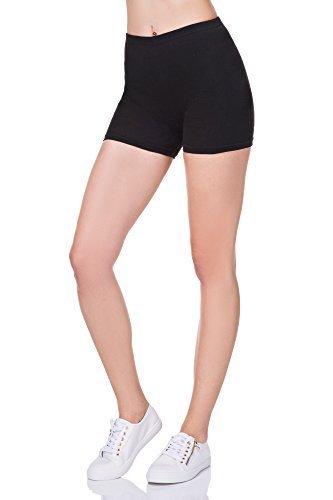 futuro fashion super weich Baumwollshorts elastischer Stretch Yoga Schlüpfer UK 8-22 PSL5 - Schwarz, 36