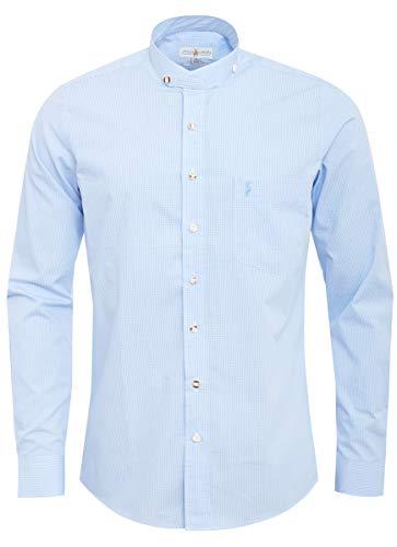 Almsach Herren Stehkragen-Trachtenhemd Slim-Fit Slim-Line Trachten-Mode traditionell-kariert s-XXL in vielen Farben, Größe:L, Farbe:Hellblau