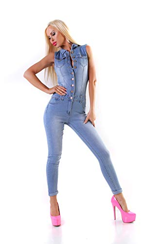 OSAB-Fashion 10996 Damen Jeans Overall Hosenanzug Einteiler Ärmellos Jumpsuit Denim