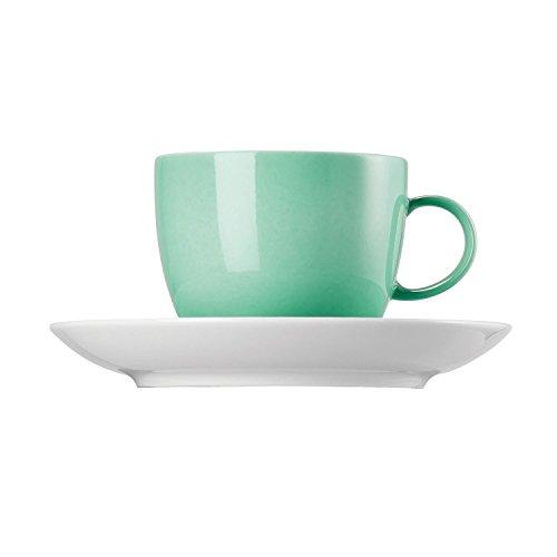 Thomas Sunny Day Tasse à Café avec Soucoupe, Porcelaine, Baltic Green / Vert, Passe au Lave-Vaisselle, 20 cl, 2 Pièces, 14740