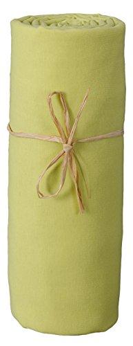 P'tit Basile - Drap housse bébé berceau ou nacelle en Jersey de coton Bio, extensible, 40x80 cm, Vert mousse. Coton peigné de qualité supérieure