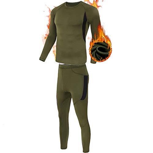 ESDY Thermo-Unterwäsche-Set für Herren, Wicking Long Johns Quick Dry Basisschicht-Sport-Kompressionsanzug für Workout Skifahren Laufen,Grün,XL