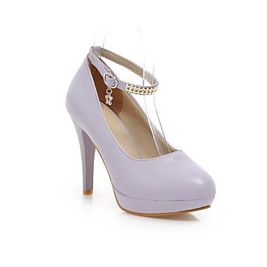Moda Donna Sandali Sexy donna pu fibbia solido Round punta chiusa High-Heels Pumps-Shoes Purple