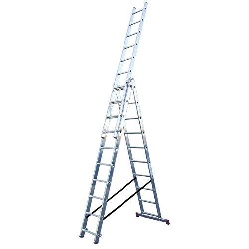Tragf/ähigkeit 330 lbs LADDER Teleskopleitern Professionelle Aluminium-Verl/ängerungsleiter mit verstellbaren F/ü/ßen Mehrzweck-Teleskopleitern f/ür Baumaterialien