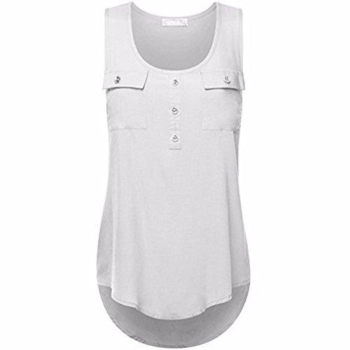 Kobay Damenmode Knopf Tasche ärmelloses Shirt Damen unregelmäßiger Rand Tank Tops Übergröße Westen, S-5XL(XXXXX-Large,Weiß)