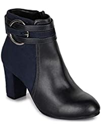 Bruno Manetti Women Faux Leather Navy Heel Boots