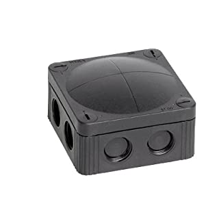 Wiska Combi 607/5 40A - Black Waterproof Junction Box With 5 Pole 6.0mmsq Screw Terminal & 7 Self Sealing Cable Inlets (IP66 41A L:110 x W:110x D:66mm)