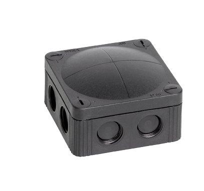 Wiska Combi 5/308 Noir Waterproof Boîte de jonction à 5 broches 4.0mmsq Vis pour Borne & 8 entrées câble auto adhésive (IP66 32A L : 85 x 85 x 51 mm)