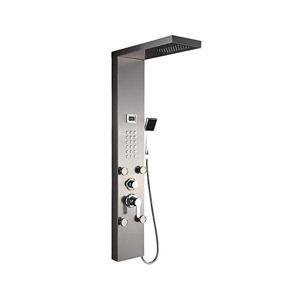 Auralum – Panel Columna de Hidromasaje Ducha Negro 4 Función con Pantalla LCD Columna Ducha Acero Inoxidable para Baño…