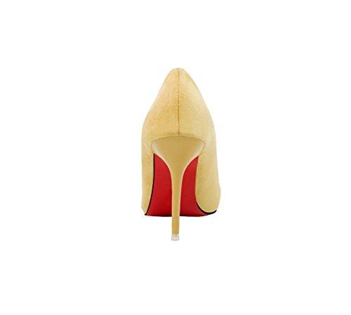 HYLM Tacchi alti moda bocca superficiale cintura in pelle scamosciata a punta fibbia scarpe da sposa squisita, pattini del partito apricot
