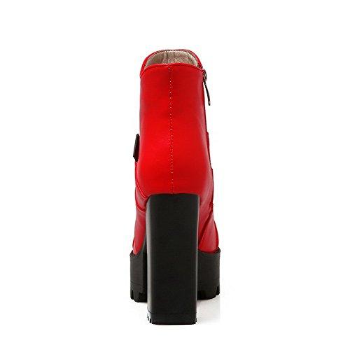 Senhoras De Agoolar Pu Couro Vermelho Zipper Botas Baixo top rwrqvCZ1