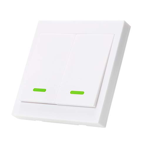OWSOO Taster Schalter Wandleuchte Fernbedienung 2 Gang 86 Typ EIN/Aus Schalter Panel 433 MHz Wireless RF Fernbedienung Sender mit Aufklebern Freie Position Flexible Für Home Wohnzimmer Schlafzimmer -